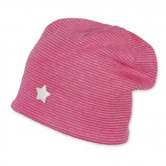 Mädchen Mütze Stern mit Glanzstreifen, pink - 4411900