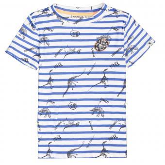 """Jungen T-Shirt Sommershirt kurzarm gestreift Alloverpront """"Dinosaurier"""" , weiß/blau - C15405_boys T-shirt"""