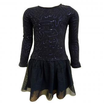 Mädchen Kleid Langarmkleid mit Pailletten und Tüllrock, dunkelblau - 973103db