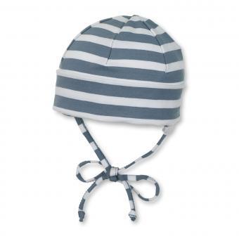 Jungen Mütze zum Binden Ohrenschutz gestreift, grau -  1501700