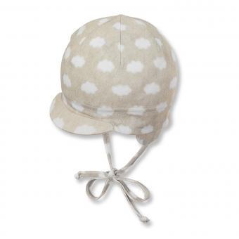 Baby Jungen Schildmütze zum binden mit Ohren- und Sonnenschutz gepunktet, grau - 1501810