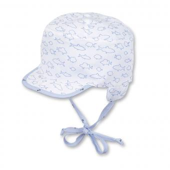 Baby Jungen Wende-Schirmmütze zum Binden mit Ohrenschutz Fische/Anker, weiss - 1601825