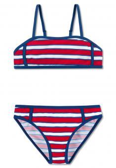 Mädchen Bustier Bikini gestreift, rot 160597