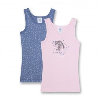 Mädchen Unterhemd Top im 2er Set mit Einhorn, blau-rosa - 334112