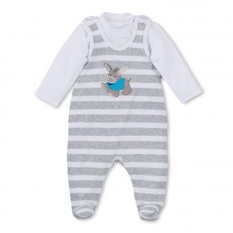 Baby Jungen Strampler mit Langarmshirt von Sterntaler mit Eselmotiv und Streifen, Grau - 2601731
