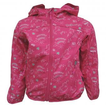 Outburst Mädchen Softshelljacke Regenjacke 10.000 mm Wassersäule Winddicht und Wasserdicht Einhorn, pink - 8423806