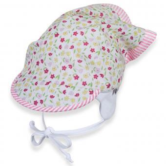 Mädchen Kopftuch zum Binden mit Schirm, weiß mit Blümchen - 1451913