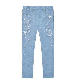 """Mädchen Leggings Hose lang Jeansstil 100% Baumwolle elastischer Taillenbund """" Blumenmuster"""", hellblau - 3.733"""