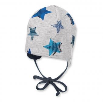 Baby Jungen Wendemütze zum binden mit Ohrenschutz Sterne, mint - 1501803