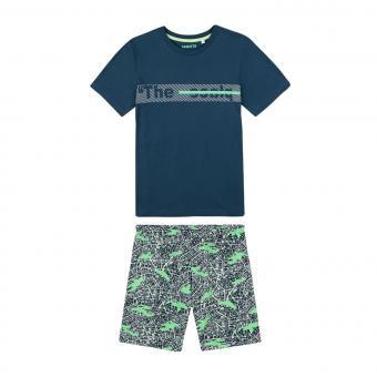 """Sanetta Jungen kurzer Schlafanzug 100% Bio-Baumwolle """"The Place"""", petrol/grau – 244996"""