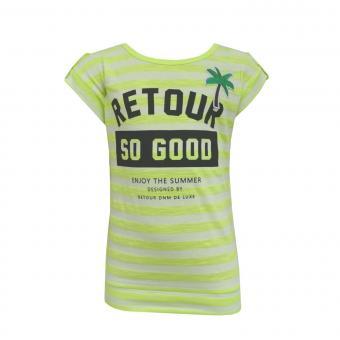 Mädchen T-Shirt Kurzarmshirt gestreift, gelb - RJG-71-200g