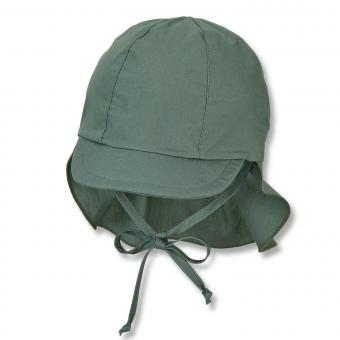Jungen Baby Kinder Schirmmütze mit Nacken- und Ohrenschutz zum Binden, UV-Schutz 50+, einfarbig, dunkelgrün – 1511410