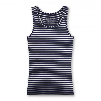 Mädchen Unterhemd geringelt, weiß-marine - 346413