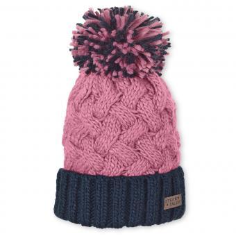 Mädchen Wintermütze Strickmütze mit großer Bommel und Microfleece-Einsatz, rosa marineblau - 4721920