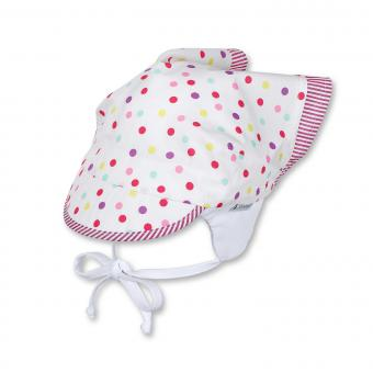 Tuchmütze Kopftuch mit Schild zum Binden und Ohrenschutz bunte Punkte, weiss - 1451811