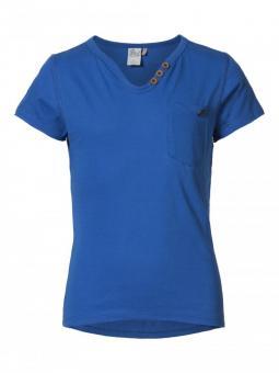 T-Shirt Mädchen mit Knopfleiste, blau - G-SS17-TSR072