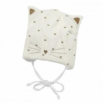 """Baby Mädchen Mütze zum binden """"Katze mit goldenen Herzen"""", beige - 4401846"""