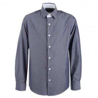 Jungen festliches Hemd langarm slim fit gemustert, jeansblau – 5549200