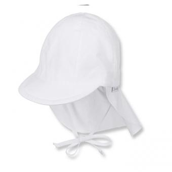 Schirmmütze mit Nacken- und Ohrenschutz zum Binden Jungen einfarbig, weiss - 1511410