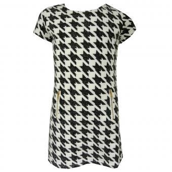 Mädchen Kleid mit Taschen, gefüttert, Hahnentritt Muster, weiß-schwarz
