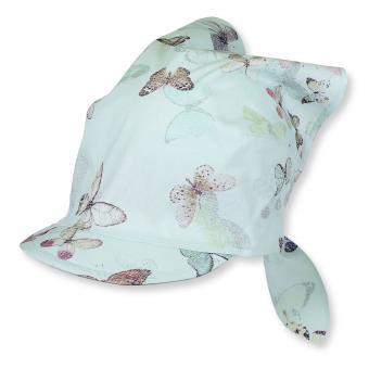 Tuchmütze Kopftuch mit Schild für Mädchen Schmetterlinge, grün - 1451733