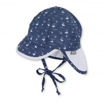 """Baby Jungen Schirmmütze zum Binden LSF UV-Schutz 30 Sommermütze Schildmütze mit Nackenschutz """"Haie"""", marineblau – 1602038"""