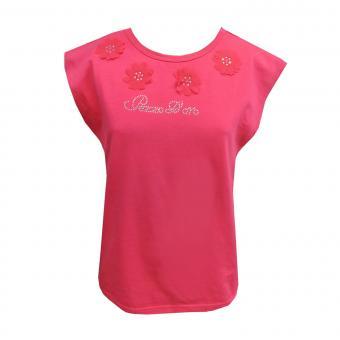 T-Shirt kurzarm Mädchen Blümchen, pink