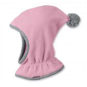 Mädchen Schalmütze Wintermütze Fleece, Zipfelmütze mit Bommel, rosa - 4521645