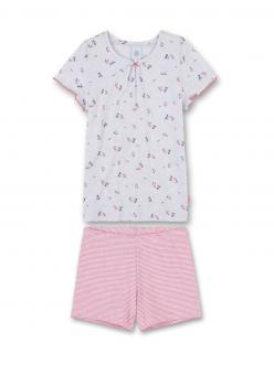Sanetta Mädchen Schlafanzug kurzarm Vögel, sand melan - 232082