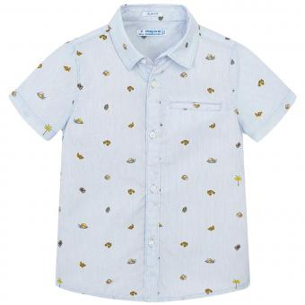 Mayoral festliches kurzarm Jungenhemd gemustert, hellblau - 3.131hb