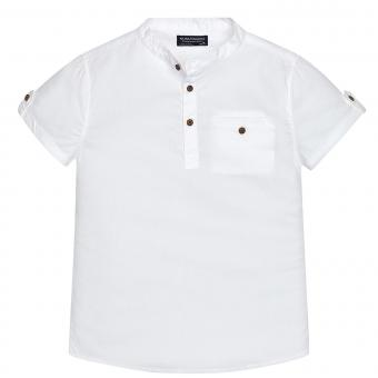 Jungen Hemd Kurzarmhemd casual einfarbig, weiß - 6146