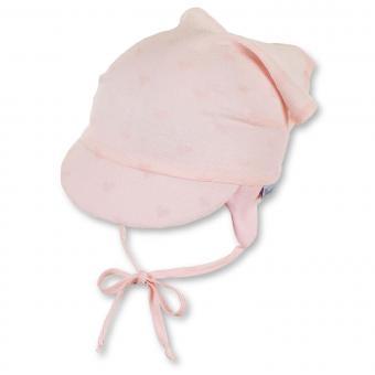 """Mädchen Baby Kopftuch zum Binden mit Schirm, Ohrenschutz, LSF UV-Schutz 15, """"zarte Herzen"""", rosa – 1452013"""