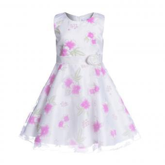 Mädchen Festkleid mit Tüll, Zierband und Blumen, weiß - 594139