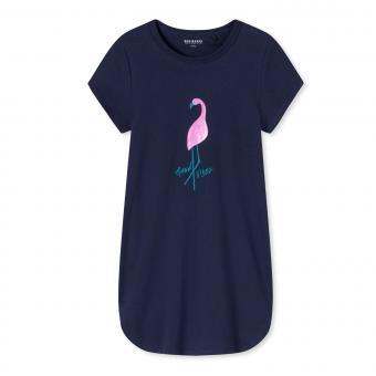 """Mädchen Schiesser Nachthemd Schlafshirt kurzarm """"Flamingo"""", dunkelblau - 173390"""