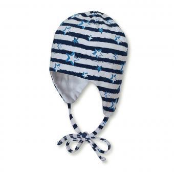 Jungen Baby Wendemütze, Sommermütze zum Binden, UV-Schutz 50+, marineblau weiß - 1501931