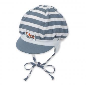 Baby Jungen Mütze zum binden mit Ohren- und Sonnenschutz gestreift Lkw, graublau - 1601810