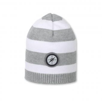 Strickmütze Mütze Baby Jungen Kompass, weiß-grau - 1711811