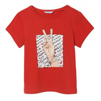 "Mädchen Sommer kurzarm T-Shirt Peace ""Enjoy the moment"" ,rot -6020r"