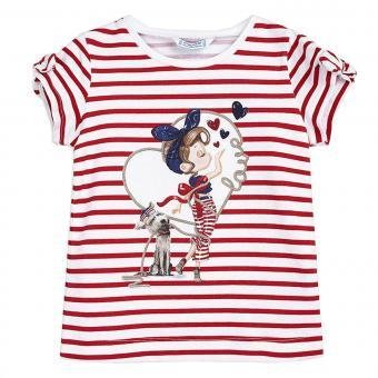 Mädchen Sommer T-shirt mit Schulteröffnung gestreift, rot - 3.010rot