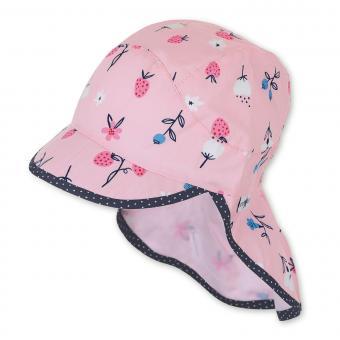 """Mädchen Schirmmütze mit Nackenschutz, LSF UV-Schutz 50+ Sommermütze """"Blumen/Beeren"""", rosa – 1422026"""