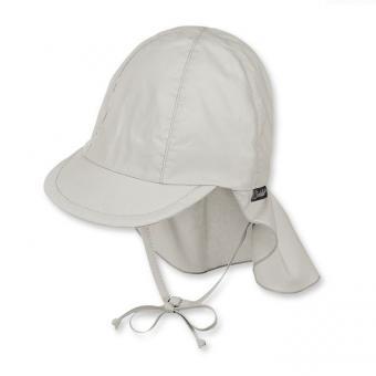Schirmmütze mit Nacken- und Ohrenschutz zum Binden Jungen einfarbig, lichtgrau - 1511410