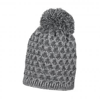 Mädchen Mütze Wintermütze Strick mit Bommel gefüttert, silber mel. - 4721818