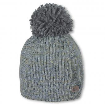 Baby Jungen Beanie Mütze Wintermütze Strickmütze gefüttert mit Bommel, blau grün- 4611900