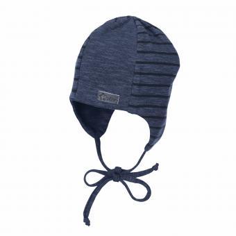 Baby Jungen Mütze Übergangsmütze zum binden mit Ohrenschutz gestreift, marine - 4501840
