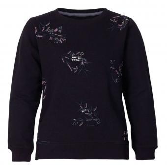 Mädchen Pullover Sweatshirt Petrol Ind. mit Perlen und Pailletten, schwarz - G-3090-SWR705