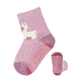 """Baby Mädchen Anti-Rutsch-Socken Fliesen Flitzer AIR """"Lama Lotte"""", rosa mel. - 8151983"""