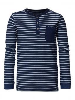 Jungen T-Shirt Langarmshirt gestreift mit Knopfleiste und Brusttasche, blau - B-FW18-TLR612