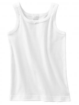 Mädchen Unterhemd mit Bordüre, weiß - 129567