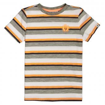 """Jungen T-Shirt Sommershirt kurzarm gestreift """"Logo im Brustbereich"""", grün - C15402_boys T-shirt"""