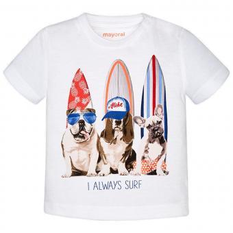 Baby Jungen T-Shirt kurzarm Hunde, weiß - 1064